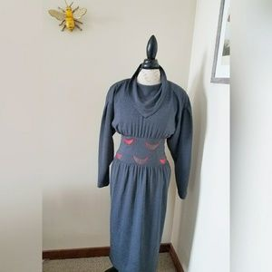 Vintage Bandana Collar 80s Dress